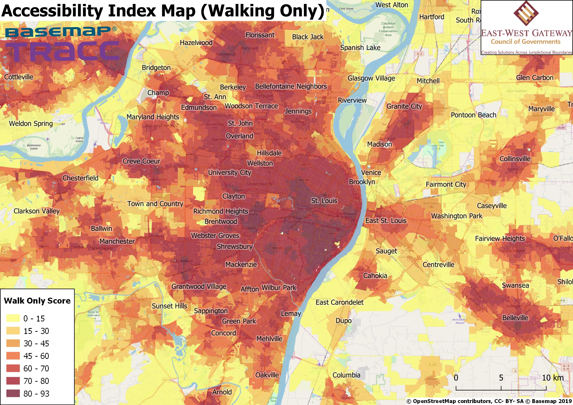 Accessibility Index Map (Walking Only)