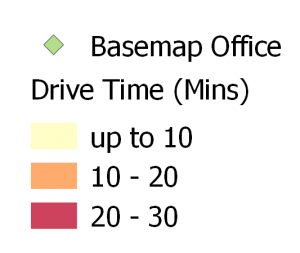 Key of drive times in mins from Basemap Office